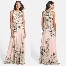 Summer Dress Pink With Belt Sexy Women Chiffon Dress Floral Print O Neck Sleeveless Party Beach Long Boho Dress