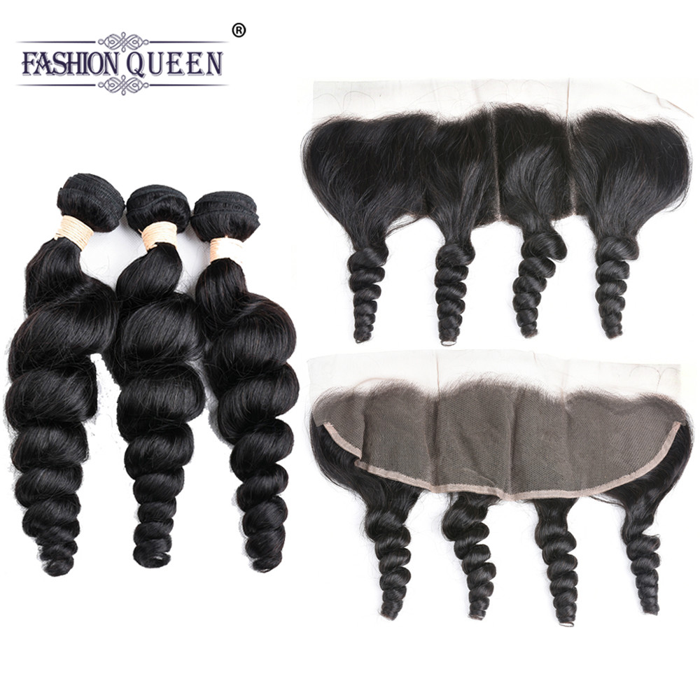 Loose Wave Bundles With Frontal Brazilian Hair Bundles With Lace Frontal Closure Non Remy Human Hair Frontal With Bundles