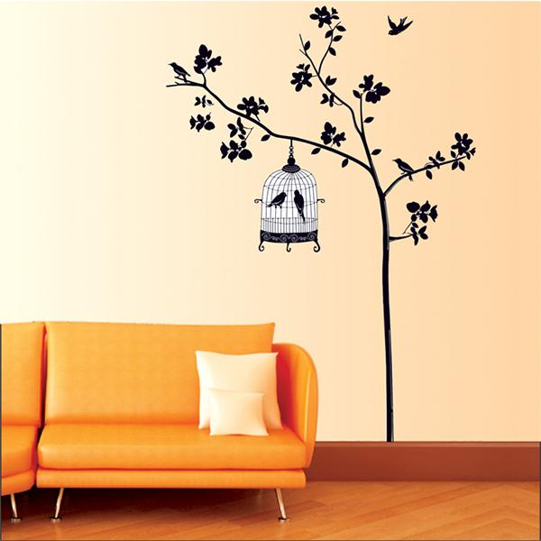 Family Picture Photo Bird cages hang the tree DIY home Wall stickers Decals/Adhesive Stickers Mural Home