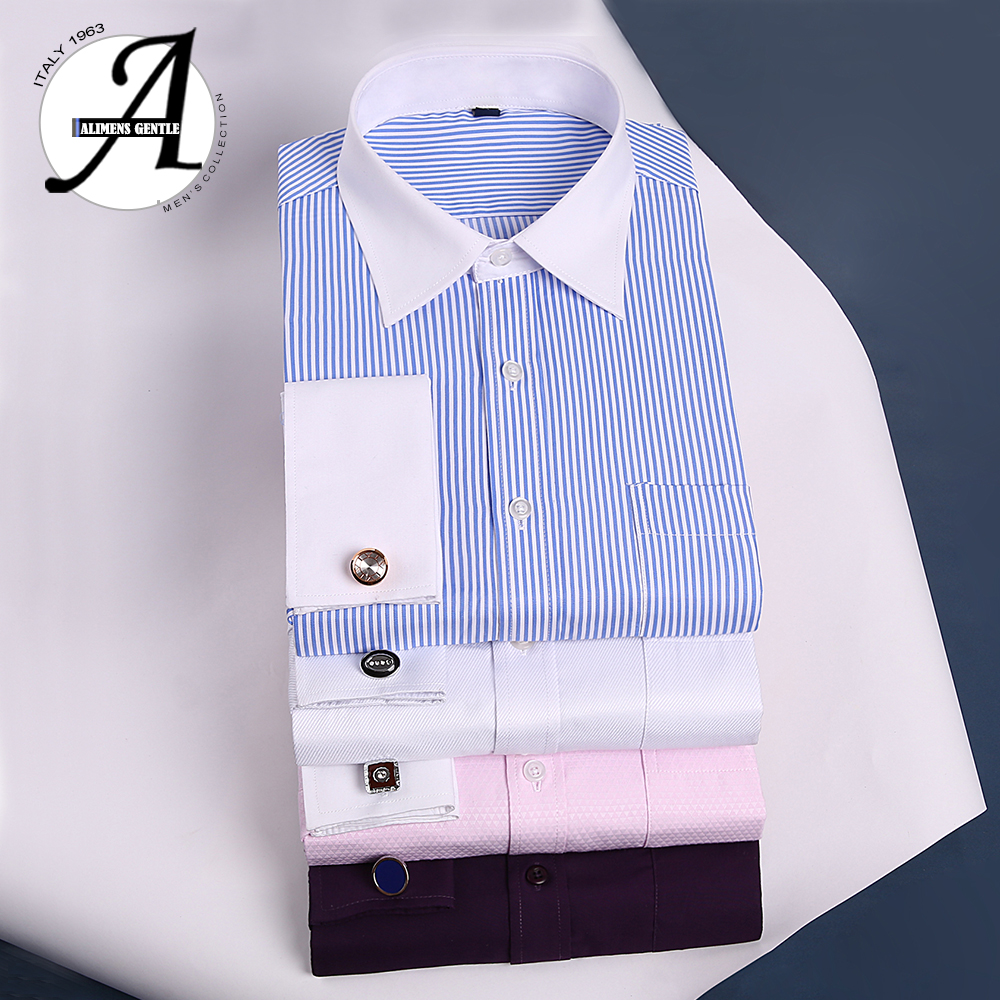 Alimens 13XL 8XL 7XL Big Size Slim Fit Male Casual Shirts Brand Camisa Masculina Long Sleeve French Cuff Dress Shirts For Men 6