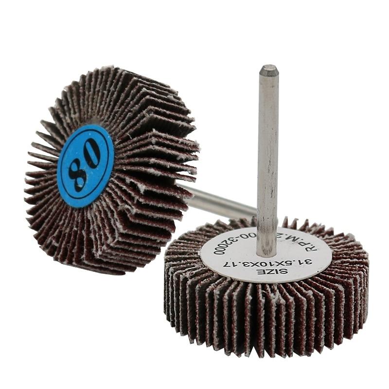 10Pcs Sanding Sandpaper Flap Wheel Disc Set (80 Grit) Handle Shutter Wheel Polishing Wheel For Dremel Power Rotary Tools