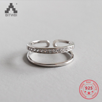 100% 925 Sterling Silver Jewelry Chic Double-deck Open Rings for Women Paty Accessories