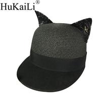 Vroege lente nieuwe wol, samenvoegen de natuurlijke gras baseball cap kant stereo oor paardensport cap motorkap metal logo