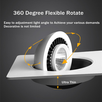 [DBF]360 Angle Rotatable LED COB Recessed Downlight Square 10W 14W 20W 24W LED Ceiling Spot Light for Picture TV Background 220V 3