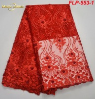 African Lace Fabric With Appliques High Quality Peach African French Lace Fabric For Wedding Evening Dresses