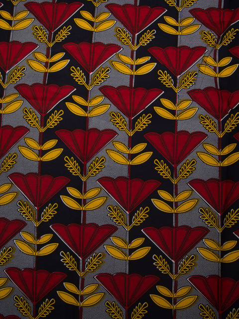 African Fabric Real Wax Black Yellow Red Leaves Pattern For Party ...