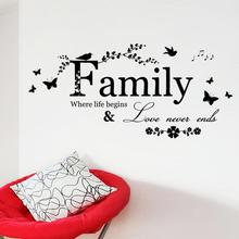 Family Love Never Ends Quote Wall Sticker For Living Room Decal Lettering Art Words Home Decor Decoration