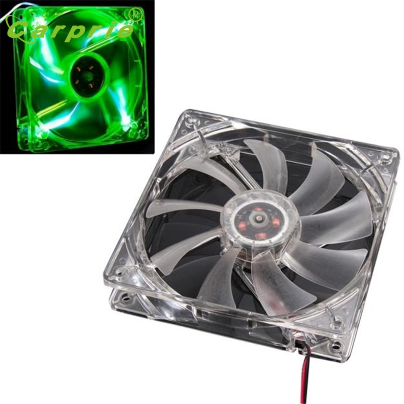 CARPRIE Green Quad 4-LED Light Neon Cooler 120 x 120 x 25 mm Transparente 10.8-13.2VDC Caja de la computadora PC Ventilador de refrigeración Mod Mar30