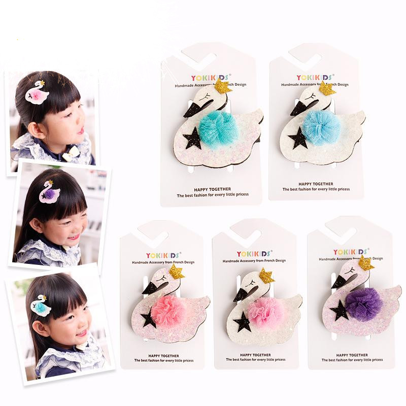 Multi Color Swan Animal Shape Hair Accessories For Girls Shiny Hair Clip Flower Crown Hairpin Cartoon Hairgrips