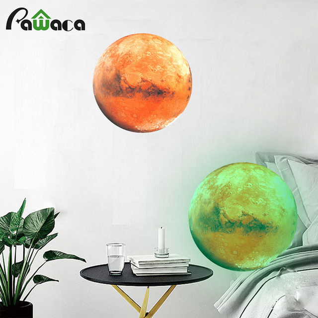 3D Luminous Planet Wall Stickers Moonlight Glow In The Dark Earth ...
