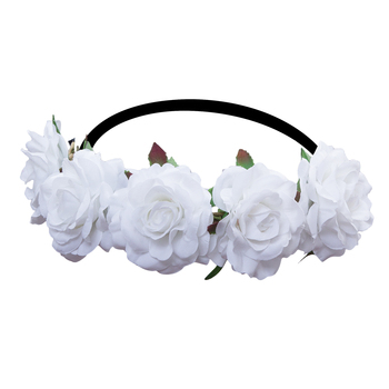 Women Handmade Gradient Rose Flower Wreath Vintage Crown 1