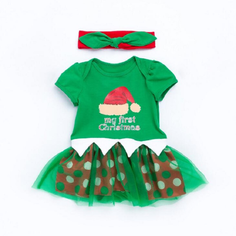 Christmas Clothing Sets baby Costume Cosplay Clothes Romper Dress Headband 2pcs Toddler Infant Clothing Sets Bebes Green Sets
