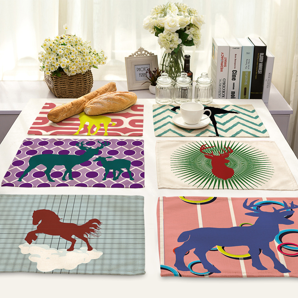 Dining table accessories - Cammitever Flamingo Deer Elephant Stripes Waves Tableware Pads Coaster Fashion Kitchen Accessories Dining Table Mat Cloth