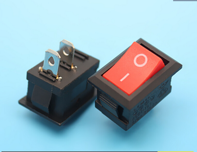 100pcs/lot 2 Pin <font><b>6A</b></font> <font><b>250V</b></font> Red Button Rocker Switch On - Off Import Rocker Power Switches 15*21mm image