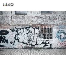Laeacco – arrière-plan de Graffiti en brique, pour photographie de Portrait, mur, ville, maison, fête, Grunge