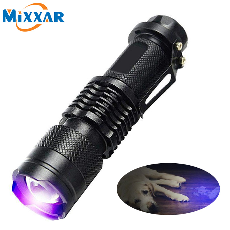 Dropshipping Led UV Flashlight Torch Light Ultra Violet Light Blacklight UV 395NM Lamp AA Battery For Marker Checker Detection
