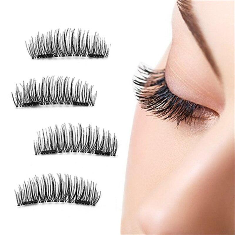 Natrual Newest 4pcs Magnet False Eyelashes Hypoallergenic Soft 3D Natural Vivid Eyelashes Magnetic Eyelashes Makeup Beauty