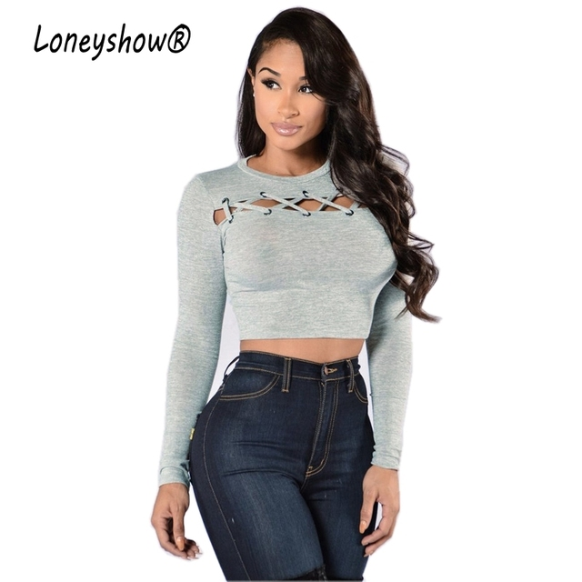 a75ce8407405 Loneyshow 2017 T Shirt Femme Sexy Ventre Exposer Court Tee Shirts O Cou À  Manches Longues