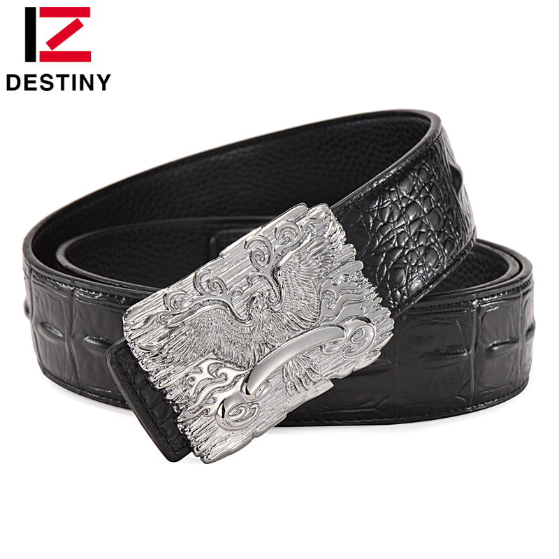 DESTINY Eagle Designer Belts Men Luxury Famous Brand Male Genuine Leather  Strap Crocodile Wide Belt Silver Gold Ceinture Homme 45601261cbc