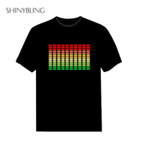 Hot Sale Sound Activated Led Cotton T Shirt Light Up And Down Flash Equalizer EL T