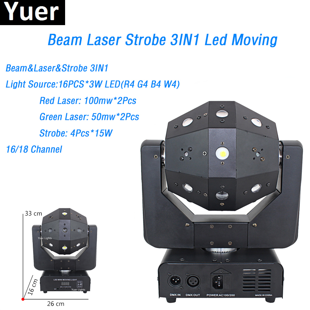 3IN1 Beam Laser Strobe Lights 16X3W Moving Head Light Football DMX512 Laser Lights DJ /Disco /Bar /Party /Show /Stage Lighting