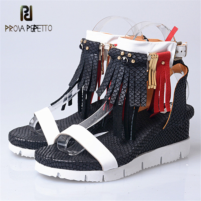 Prova perfetto Hot Sale Elegant Women Genuine Leather Wedge Heels Sandals Shoes Snake Skin Tassels Open