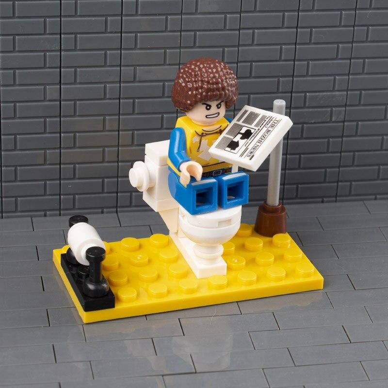 Garden City MOC Bricks Educational Building Blocks Toilet Bathroom WC Loo Roll Plunger Bog Brush DIY Figures Mini Accessory C027