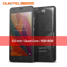 Original Oukitel C3 5.0 inch Mobile phone Android 6.0 MT6580 Quad Core 1.3GHz 5.0MP 1G RAM 8G ROM Dual SIM Smart Cellphone