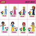 8pcs Action Toys Fairy Tale Snow Princess Girl Friends Model Building Doll  Bricks Blocks Kid Toy for the child Gifts