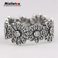100 925 Sterling Silver Big Flowers Dazzling Daisy Meadow Clear CZ Ring Compatible With Pandora Ring