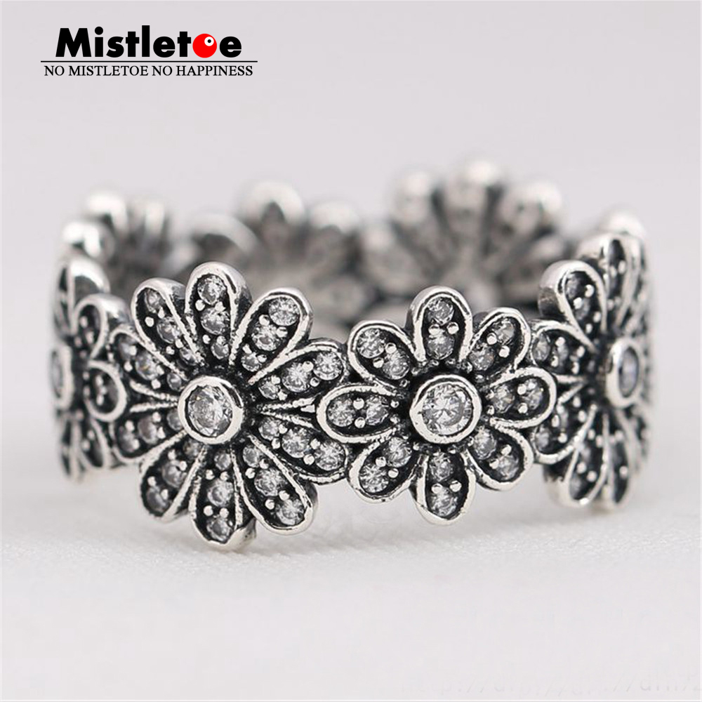 100% 925 sterling Silver Big Flowers Dazzling Daisy Meadow, Clear CZ Ring Compatible with European Jewelry stylish daisy flowers solid color ring for women