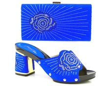 royal blue Rhinestones African Shoes And Bag Sets For Wedding Italian Leather Shoes Women Sandal With Matching Bags Set
