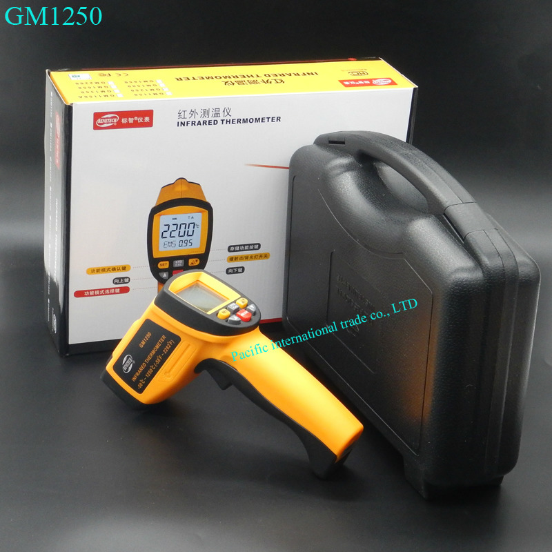 Non contact infrared thermometer GM1250 Digital  Pyrometer IR Laser Point Gun EMS 0.1-1.0 -50~1250C(-58~2282F) with BOX 2017 bside btm21c infrared thermometer color digital non contact ir laser thermometer k type 30 500 led