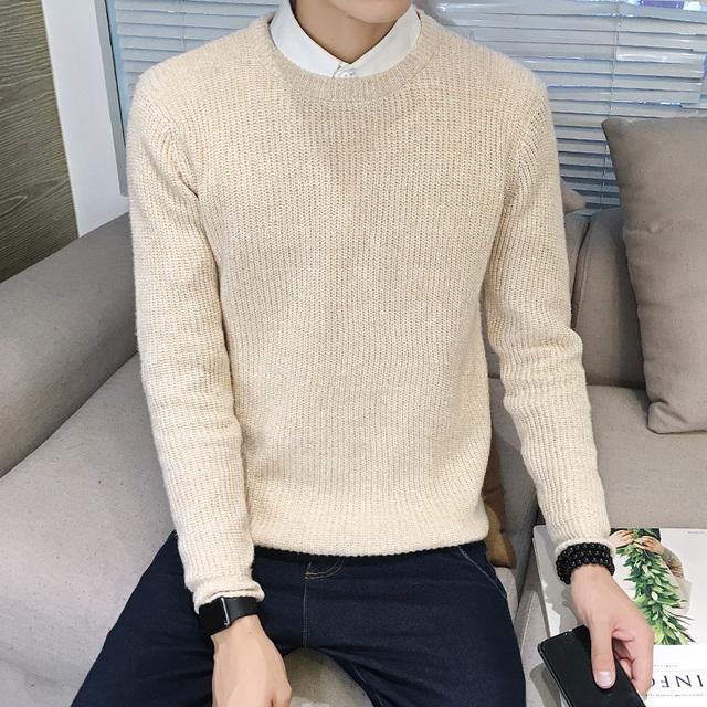 A Qualidade superior 2017 Nova Chegada O-pescoço Suéter de Lã Homens Marca-Roupas de Malha de Cashmere Pullover Assentamento camisa Dos Homens Slim Fit