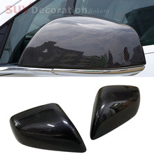 fit for Tesla Model X 2016 2017 2018  Carbon fiber Black abs Rearview Mirror Cover trim  2pcs Accessories Car