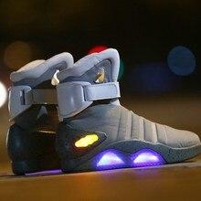 d353ab0bcf9a1 Bottes Cosplay retour au futur chaussures lumineuses LED Air Mag Style  propriété Usa mode bottes hautes