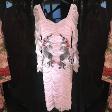 HIGH STREET Newest Fashion 2018 Designer Runway Dress Women's Long Sleeve Leopard Embroidery Fold Gauze Dress