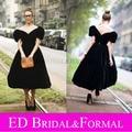 Линия черный бархат пуховкой рукавом чай знаменитости вечернее платье платье же стиль из дита фон тиз вечернее платье