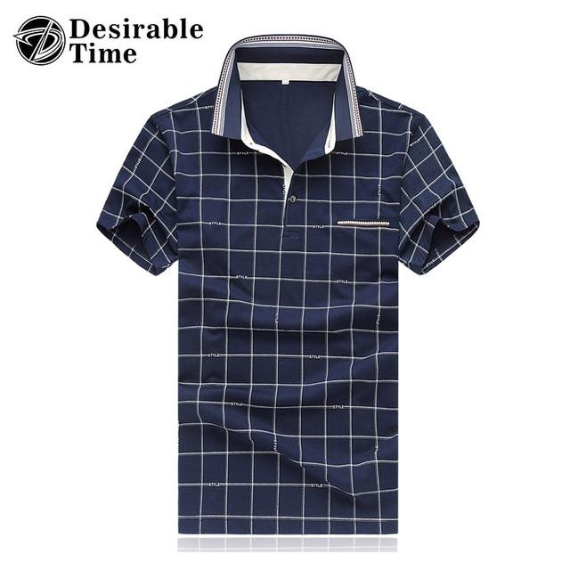 Мужская С Коротким Рукавом Плед Polo Рубашки Плюс Размер 4XL 5XL 2017 Летняя Мода Повседневная Темно-Синий Polo Shirt for Men DT503