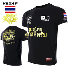 Vszap Muay Thai Lotus T-Shirt Men Fitness Bodybuilding Short-sleeved High Quality T shirts MMA Fighting Fight Sanda