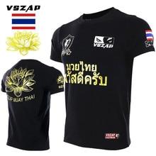 Vszap Muay Thai Lotus T-Shirt Men Fitness Bodybuilding Short-sleeved High Quality T shirts MMA Muay Thai Fighting Fight Sanda vszap men s hoodie jacket long sleeve zip hooded sweatshirt mma muay thai long sleeved sportwear