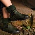 2016 женщин квартиры красивые случайные ботинки женщин круглый носок из натуральной кожи сапоги средней ног сапоги бесплатная доставка 3188-90
