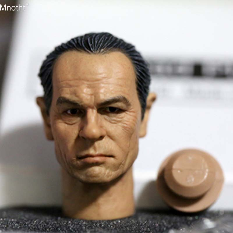 Mnotht 1/6 Soldier Head Carving Model Tommy Lee Jones Black Clothes Man Head Sculpt Toy for 12in Action Figure Collection m3n sufeile children s solid wood stool creative fabric sofa low chair creative fashion for shoe stool home decoration chair d50