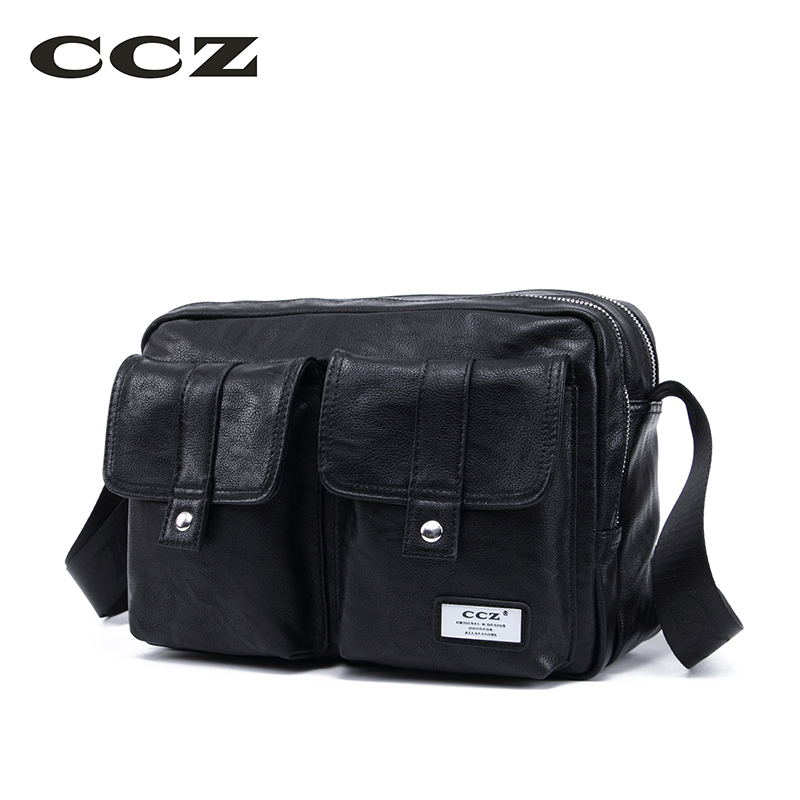 CCZ New Shoulder Bag High Quality PU Leather Men Bag Crossbody Bags For Man Casual Business Male Work Bag Bolsas SL8011 casual canvas women men satchel shoulder bags high quality crossbody messenger bags men military travel bag business leisure bag