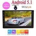 Android 5.1 Doble 2 din autoradio del coche de navegación GPS reproductor de vídeo Android 2din coche audio estéreo pantalla táctil espejo enlace + cámara