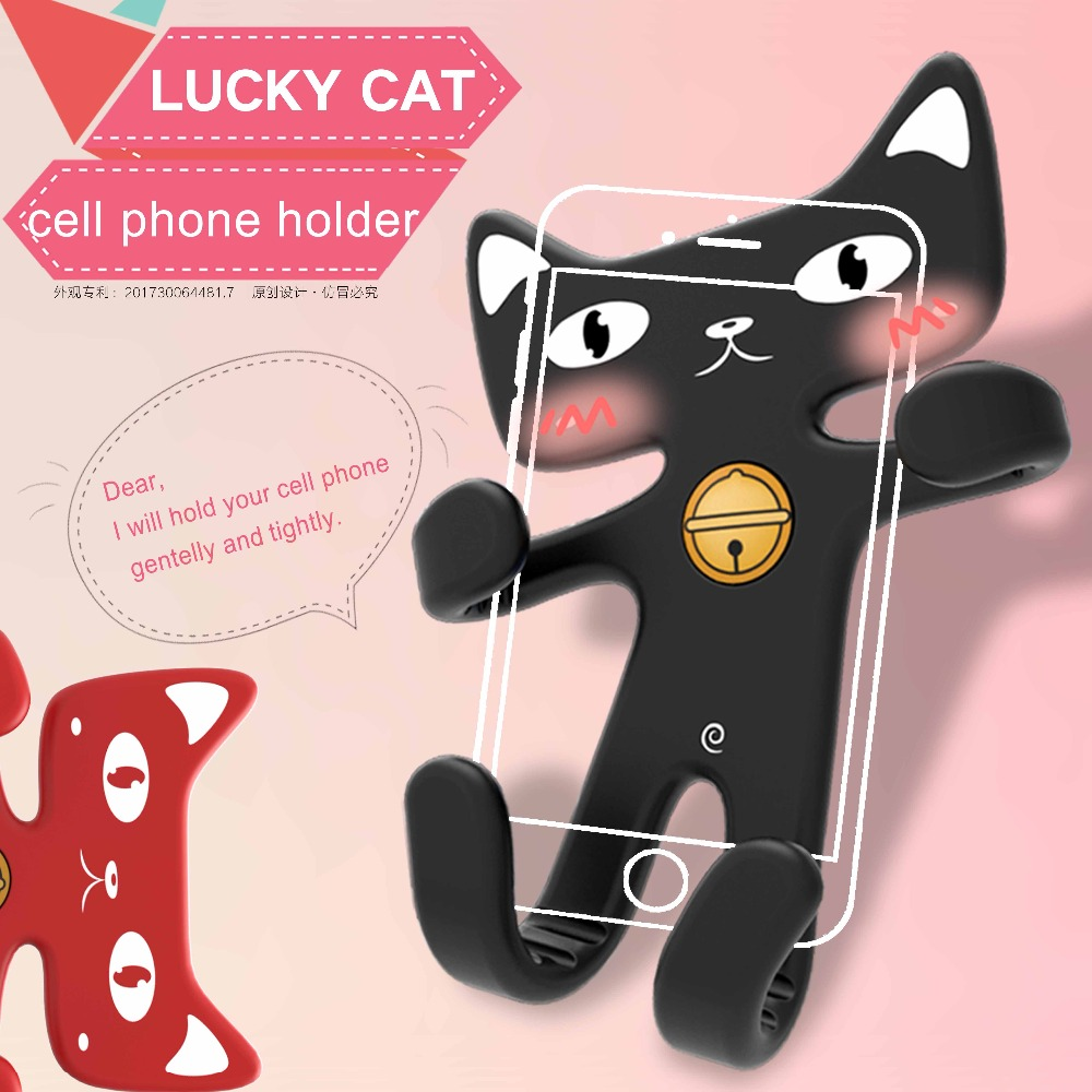 Original Design Carton Cat Flexible Soft Silicon Car Air Vent Cell Phone Mobile Phone Holder Clipped in Car Conditioner Outlet