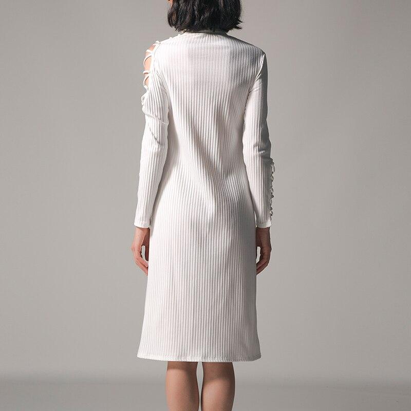 72422254e3 Vintage Kobiety Bodycon Sukienka Zima Obcisłe Dzianiny Sweter Podział  Kobiece Sukienki Na Co Dzień Elegang Zimno Ramię Party Dress Vestidos w  Vintage ...