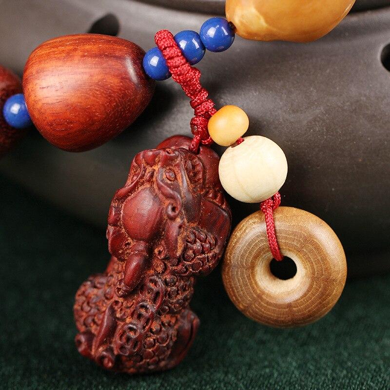Lobulären rotem sandelholz fabrik für derivat strahlen mit alten material gold entlang der wasser tröpfchen perlen runde hand string - 5