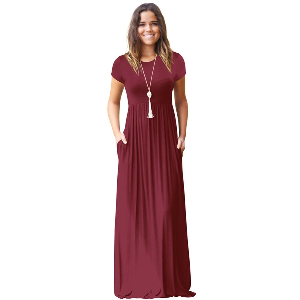Casual Long Summer Dresses For Women 2019 Short Sleeve ...
