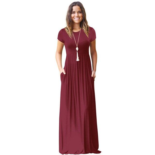 5e232aa59fd Casual Long Summer Dresses For Women 2019 Short Sleeve Pocket Floor Length Maxi  Dress Women O Neck Solid Dress Female Vestidos